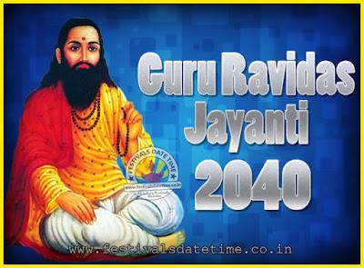 2040 Guru Ravidas Jayanti Date & Time, 2040 Ravidas Jayanti Calendar
