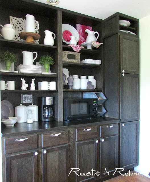 Home Tour of an updated kitchen with ebony stained cabinetry, an eat-in kitchen table and functional butlers pantry.