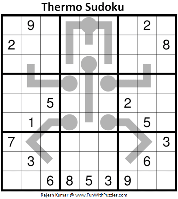 Thermometer Sudoku Puzzle (Fun With Sudoku #346)