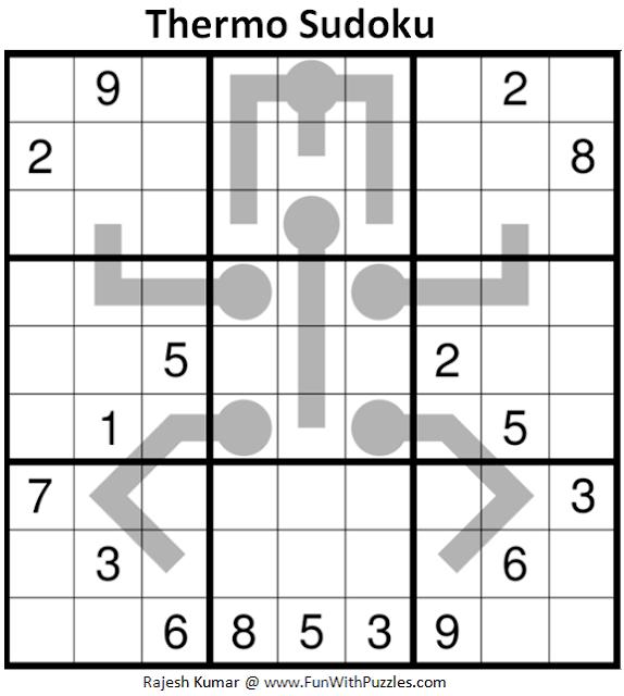 Thermometer Sudoku Puzzle (Fun With Sudoku #346)