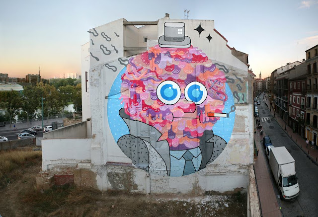 """Mr Beef"" Street Art By GR170 In Zaragoza, Spain For Asalto Urban Art Festival."