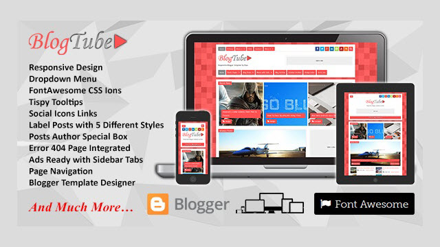 BlogTube Video Blogger Template Demo and Download Link.