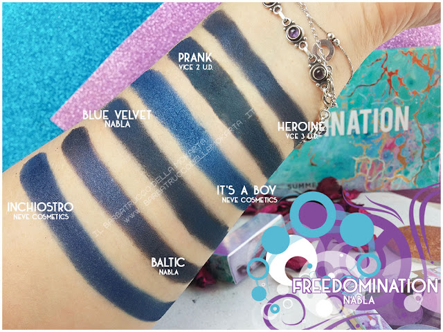 blue velvet comparazioni nabla cosmetics freedomination collection summer eyeshadow