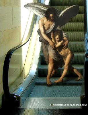 Fotomontaggi di opere d'arte-L'angelo custode - Lo Spadarino