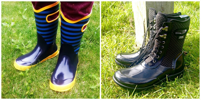 Two different style of wellies from Bogs