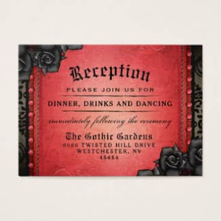Halloween Matching Red & Black Gothic Reception Cards