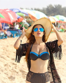 Neha Malik Hot Photoshoot in Black Bikini