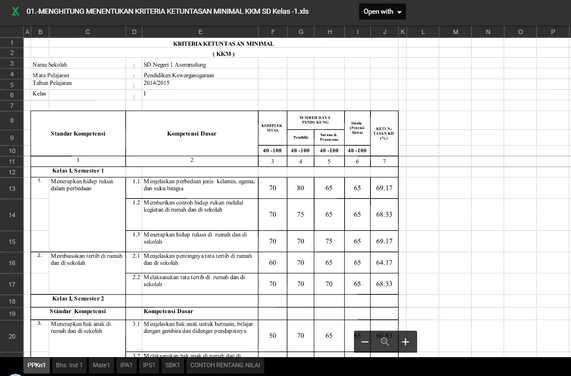 Aplikasi KKM Dengan Excel