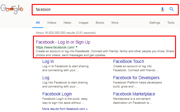 facebook login home page google l