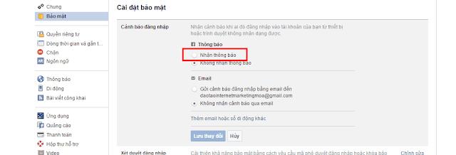 Chọn xác nhận Cảnh báo đăng nhập Facebook