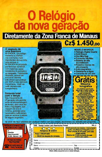 Propaganda da Sonora, apresentando o Relógio M-Shock no final dos anos 80