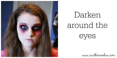 Darken Around the Eyes with Black Face Paint or Eye Liner - Zombie Makeup Tutorial Halloween Face Painting