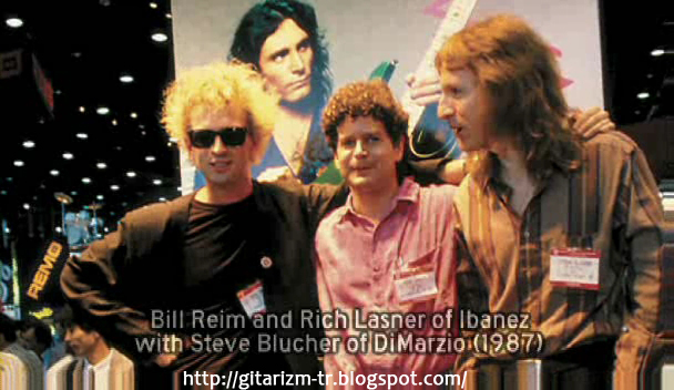 Bill Reim and Rich Lasner of Ibanez with Steve Blucher of DiMarzio (1987)