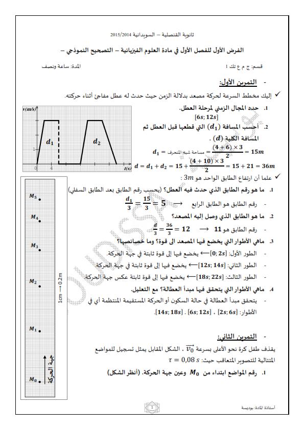 الفرض المحروس الأول للثلاثي الأول في العلوم الفيزيائية