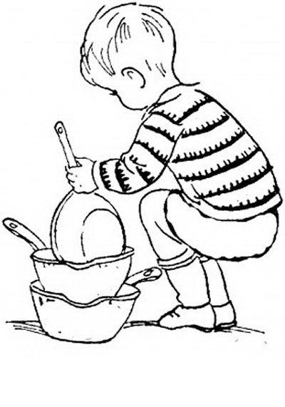 Niño Con Cacerolas Para Colorear Dibujo Views