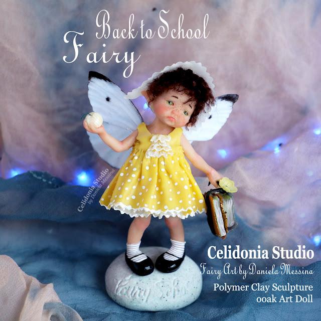 Back to School Fairy - Polymer Clay ooak Art Doll