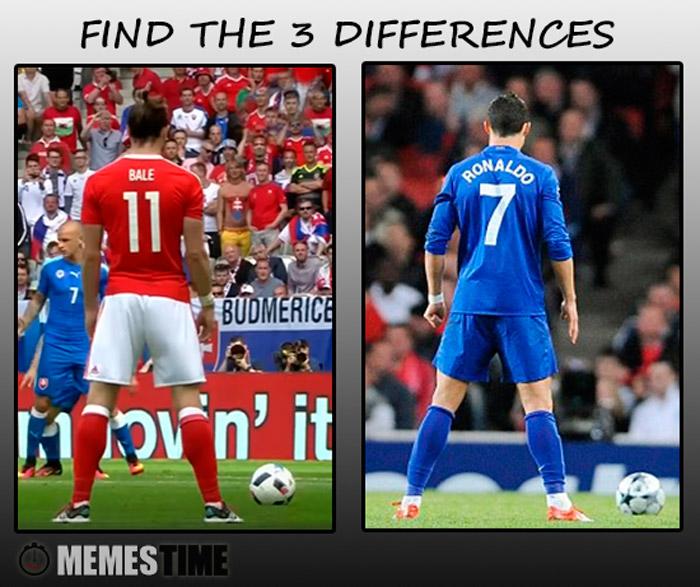 Meme Gareth Bale e Cristiano Ronaldo – Find the 3 Differences