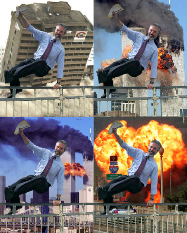 Four images of Gerry Adams gleefully leaping over a fence while buildings explode and collapse behind him. Two images include the Twin Towers.