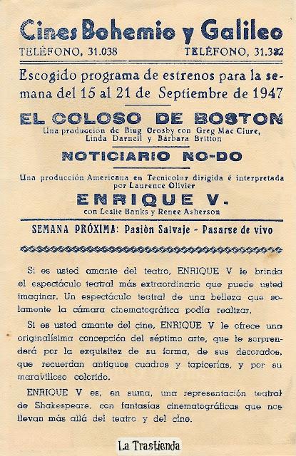 Programa de Cine - Enrique V - Laurence Olivier - Robert Newton