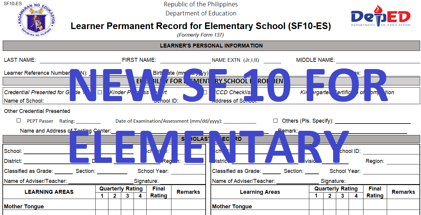 New school form 10 sf10 learners permanent academic record for new school form 10 sf10 learners permanent academic record for elementary school fandeluxe Choice Image