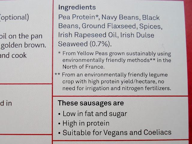 Dee's Vegan Sausages with Ginger, Coriander, Pepper & Irish Dulse Seaweed ingredients