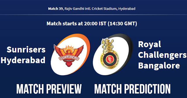 IPL 2018 Match 39 SRH vs RCB Match Prediction, Preview and Head to Head Who Will Win