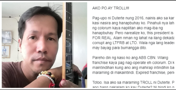 """Former hater of Duterte now proudly says that he's a 'troll' and being paid by the President: """"NOT FOR THE MONEY, NOT FOR FAME. BUT FOR PROMOTING HIS GOOD DEEDS AND LEADERSHIP!"""""""
