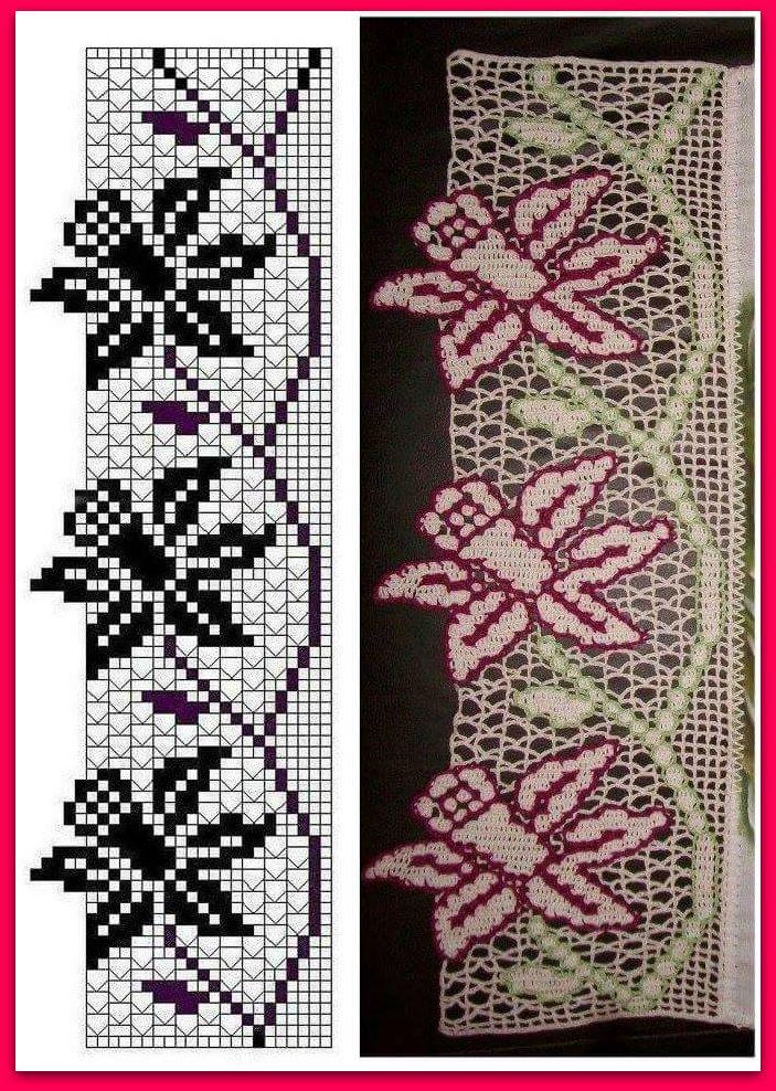 schemi uncinetto bordo con fiori a filet
