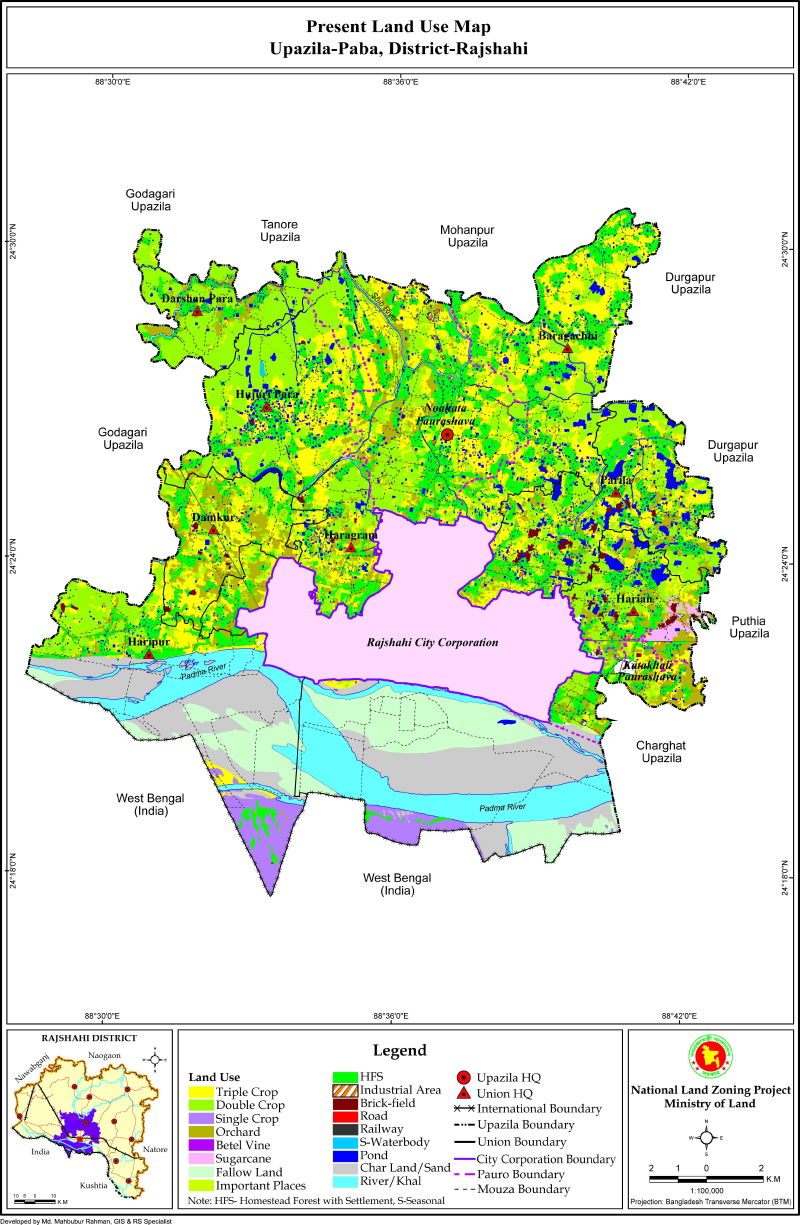 Paba Upazila Mouza Map Rajshahi District Bangladesh