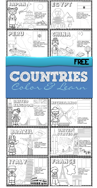 countries - color and learn about 18 countries from all around the world - use as coloring sheets or make a book for preschool, kindergarten, 1st grade, 2nd grade, 3rd grade