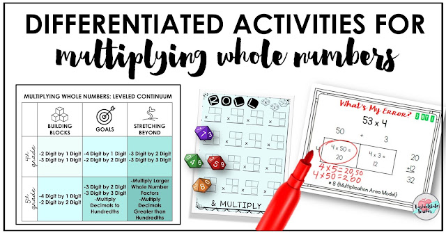 Need ideas and activities for teaching multiplying whole numbers to your 4th and 5th graders? If you want to infuse your classroom with differentiated activities, this post is a must read with at least 5 ideas for differentiating your multiplication practice and student assignments. Read on for a look at the 4th and 5th grade leveled continuum for multiplication concepts, a free multiplication dice game, and other ideas for differentiation during your multiplication unit.