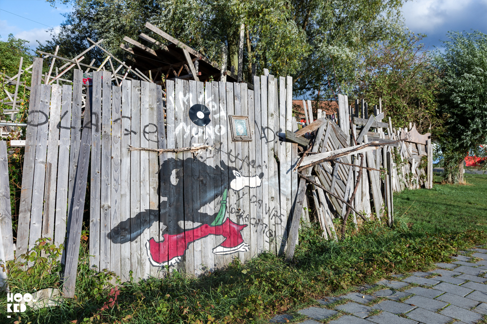 oakoak urban interventions street art in Ghent. Big Bad Wolf Cartoon