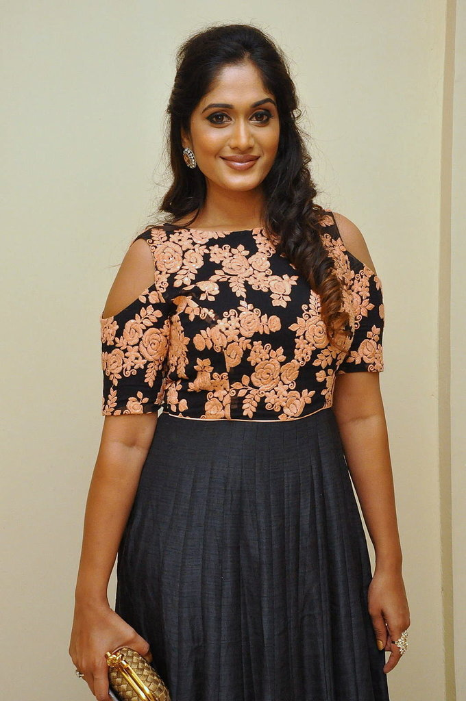 Telugu Actress Sowmya Venugopal At Kalamandir Anniversary Celebrations In Black Dress
