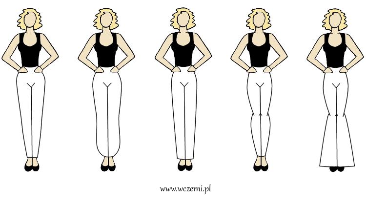 szerokie ramiona wizualnie wyszczuplone przez odpowiednio dobrany fason spodni