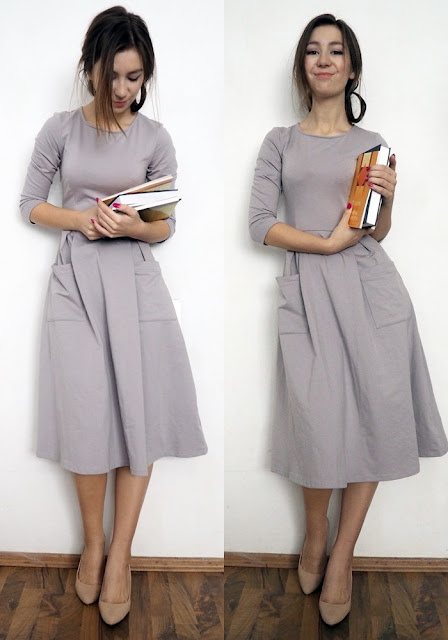 grey midi dress with pockets