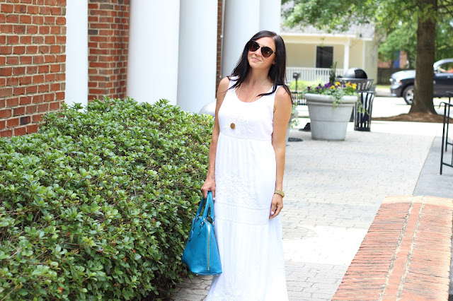Spring Style, White embroidered maxi dress, turquoise bag