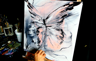 PINK BUTTERFLY - acrylic painting video demo by Dranitsin