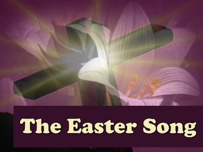 The Easter song - my lord he died for a kingdom - superimposed over an Easter lilly