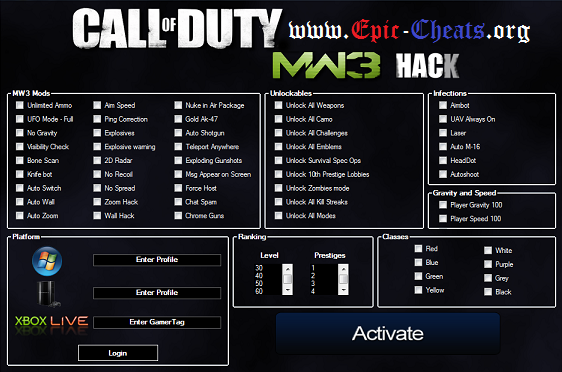 mw3 weapons unlock cheat for fallout