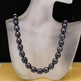 echte Perlenkette schwarz