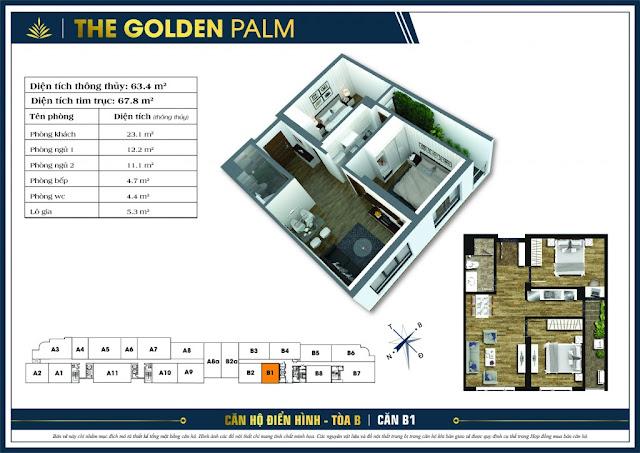 Mặt bằng căn B1 chung cư The Golden Palm
