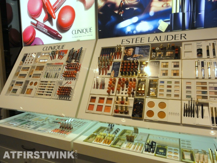 Clinique and Estée Lauder display