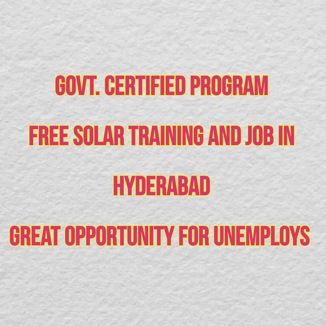 Free Solar Training with Job Placements || Fresher's Jobs in