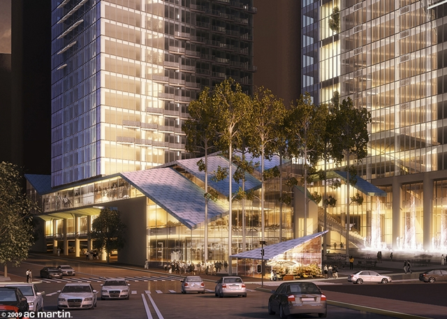 Rendering from the street of Wilshire Grand by AC Martin Partners, Los Angeles, USA