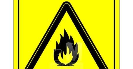 Stiker Safety Sign - Awas Mudah Terbakar - Cutting Sticker