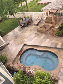 small pool, inground spa, fire pit, outdoor living, small backyard ideas, small backyard, outdoor living