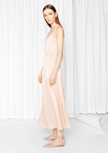 stories blush midi dress, stories v neck midi dress, peach satin midi dress,