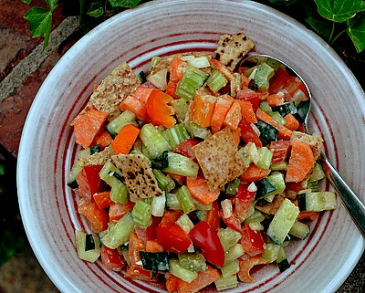 Greek Bread Salad with Toasted Pita Chips, another salad with great crunch and color ♥ AVeggieVenture.com. Kid Friendly! Weight Watchers Friendly!