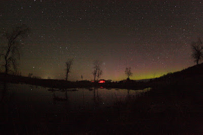 aurora over the south pond at the CAO