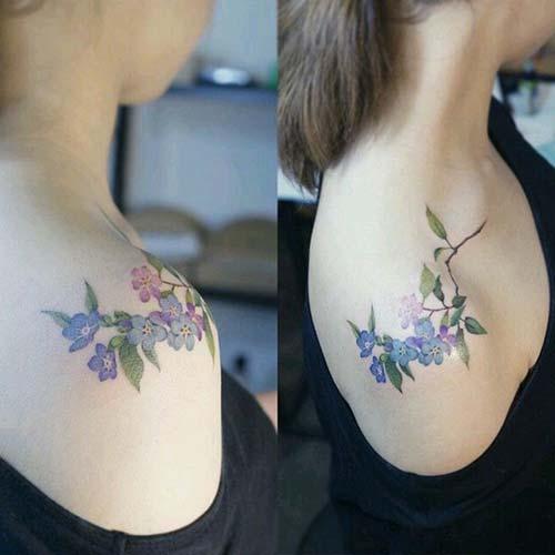 basit çiçek kadın omuz dövmeleri simple flower woman shoulder tattoos